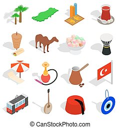 Country Turkey icons set, isometric 3d style