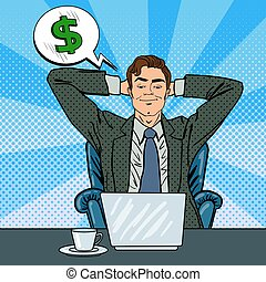 Happy Businessman with Laptop. Office Worker Dreaming About Something. Pop Art. Vector illustration