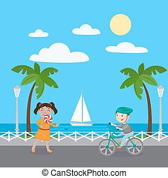 Girl with Lollipop. Boy on Bicycle. Kids on Vacation. Vector illustration