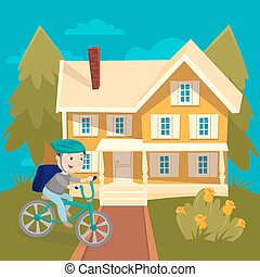 Happy Boy Riding Bicycle near the House. Summer Children Vacation. Vector illustration
