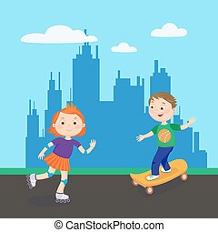 Roller Skating Girl. Skating Boy. Kids Playing in the City. Vector illustration