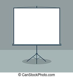 Boardroom with Standing White Board. Business Presentation. Vector illustration