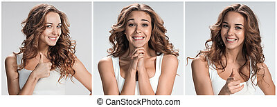 Set of young womans portraits with different happy emotions...