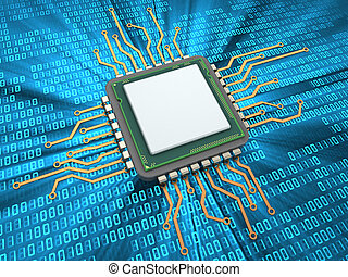 CPU - 3d illustration of CPU over digital background