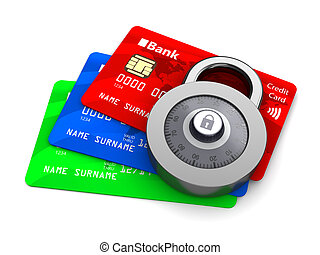 protected cards - 3d illustration of credit cards protected...