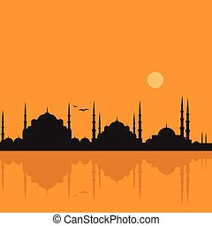 The Blue Mosque, Sultanahmet Camii, Agia Sofia Istanbul, Turkey, middle east islamic architecture and Bosphorus
