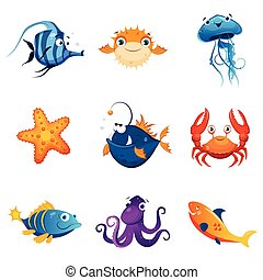 Colorful Marine Animals Set Of Cute Bright Color Childish...
