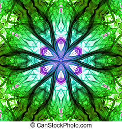 Mean Green Machine - Abstract green design with psychedelic...