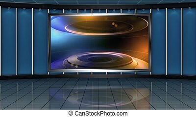 News TV Studio Set- 164 - News TV Studio Set 164 - Virtual...