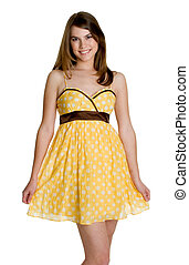 Pretty Teen Girl - Pretty teen girl wearing yellow dress
