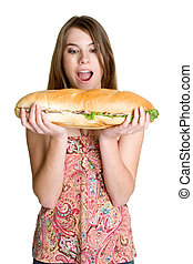Girl Eating Sandwich - Isolated girl eating large sandwich
