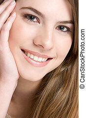 Smiling Girl Portrait - Beautiful closeup smiling girl...