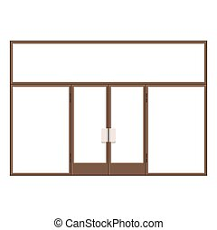 Wood Shopfront with Large Black Blank Windows. Vector...