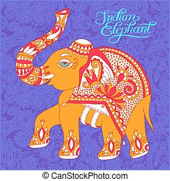 original indian pattern with elephant and handwritten...