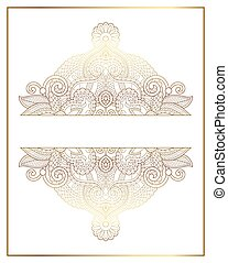 elegant floral ornamental background, golden decor on light...