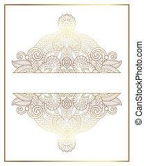 elegant floral ornamental background, golden decor on light...