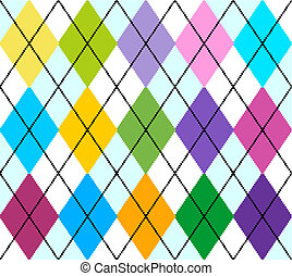 Vector argyle seamless pattern - Vector colourful argyle...