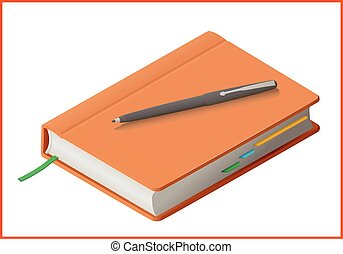 notebook flat vector 3d illustration - notebook isolated on...