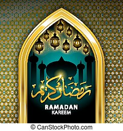 Gold Mosque and stars ramadan kareem card in vector format.