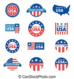 Vector set of made in the USA label