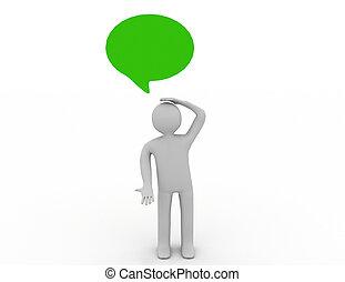 考え, スピーチ, 人, 泡, 3D