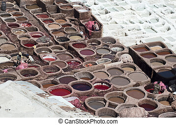 Tanning Pools, Fes, Morocco, - Workers Processing Hides In...