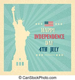 Liberty Statue Happy Independence Day United States American...