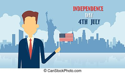 Business Man Hold United States Flag New York Background...