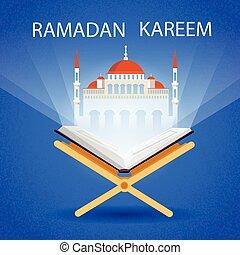 Ramadan Kareem Open Koran Mosque Muslim Religion Holy Month...