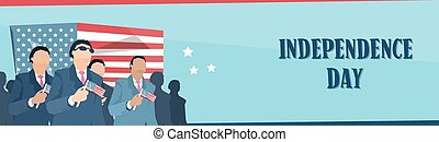 Business Man Group Hold United States Flag Independence Day Banner