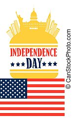 Happy Independence Day United States American Holiday Banner...