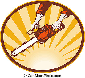 hand holding chainsaw with sunburst in background -...