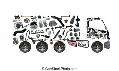 Images truck assembled from new spare parts - Goods are...