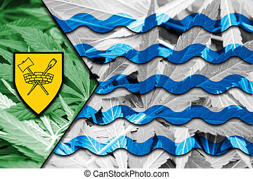 Flag of Vancouver, on cannabis background