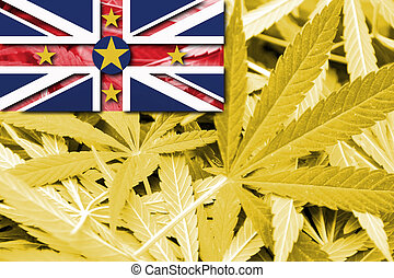 Flag of Niue, on cannabis background
