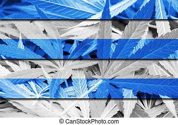 Flag of Tallinn, on cannabis background