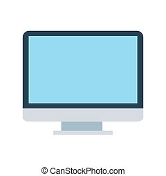 Vector computer display isolated on white background