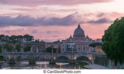 Rome, Italy: St Peters Basilica, Saint Angelo Bridge and...