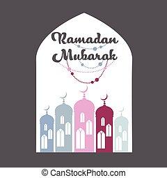 Ramadan Mubarak Mosque Window Vector - Ramadan Mubarak...