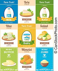 Milk Products Poster Set - Dairy products poster set with...