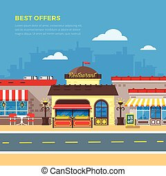 Best Offers Cafe And Restaurant Flat Illustration - Best...
