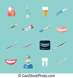 Dentist Isolated Flat Icons - Dentist isolated flat icons...