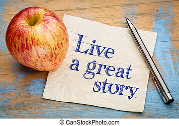 Live a great story napkin note