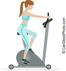 Exercise bike - Woman workout on exercise bike, on a white...