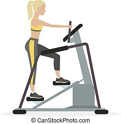 Stepper - Woman workout on stepper, on a white background....