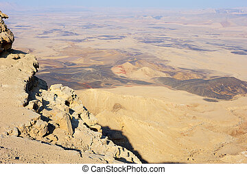 Makhtesh Ramon, unique crater in Israel, a top view