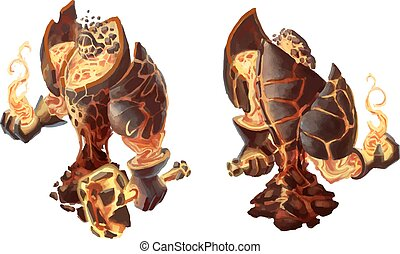 Cartoon fire golem, game character on white - Cartoon fire...