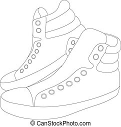 Vector silhouette sneakers on white background