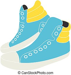 Illustration of blue sneakers on white background