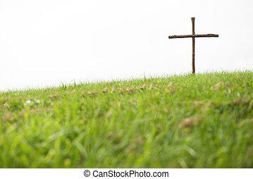 de madera, cruz, en, Un, colina,